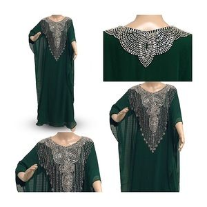 English green Kaftan dress for women formal maxi